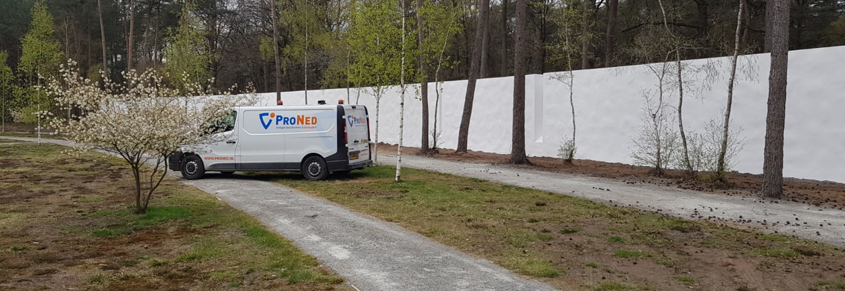 Witte coating muur